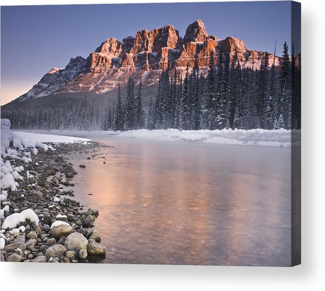 Castle Mountain Acrylic Print featuring the photograph Castle Mountain And The Bow River by Richard Berry