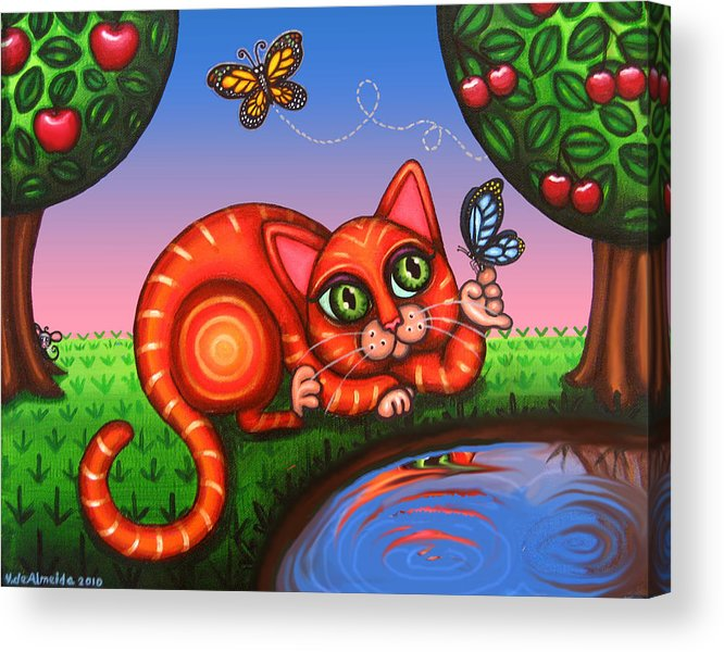 Cat Acrylic Print featuring the painting Cat In Reflection by Victoria De Almeida