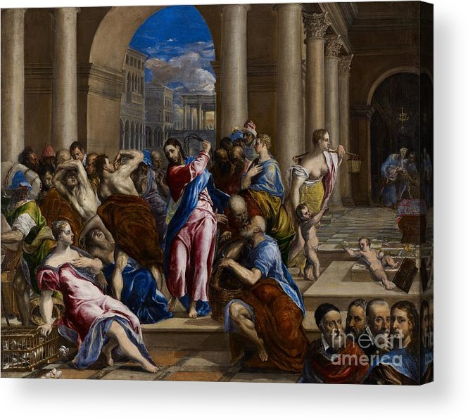 Jesus Acrylic Print featuring the painting Christ Driving The Money Changers From The Temple by El Greco