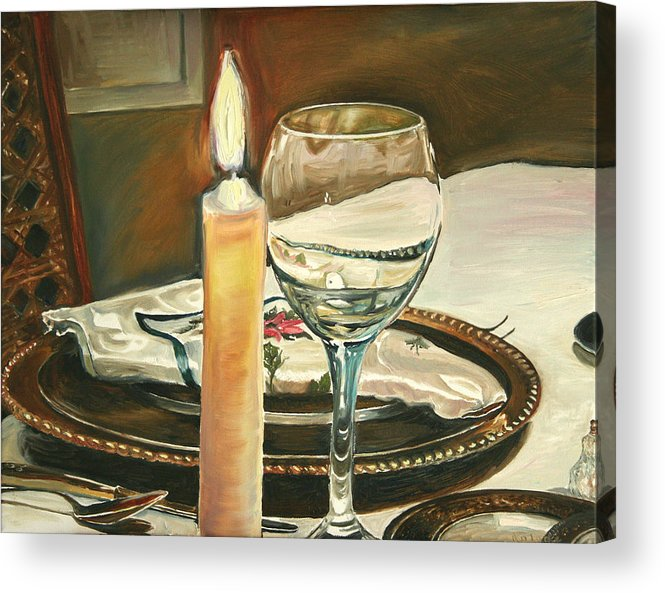 Still Life Acrylic Print featuring the painting Christmas Dinner With Place Setting by Jennifer Lycke