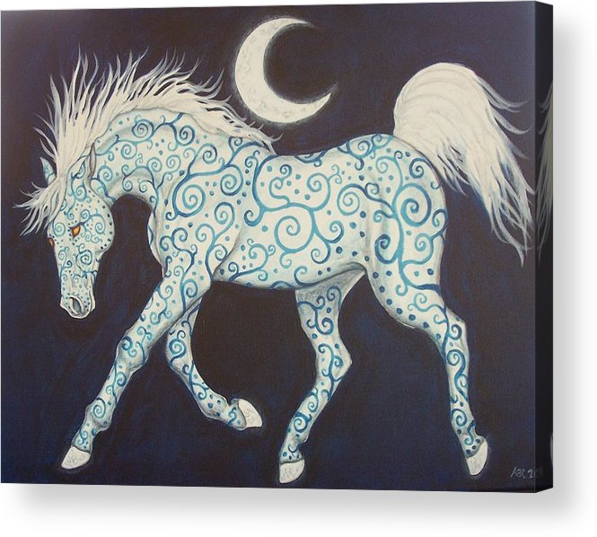 Celtic Acrylic Print featuring the painting Dance Of The Moon Horse by Beth Clark-McDonal
