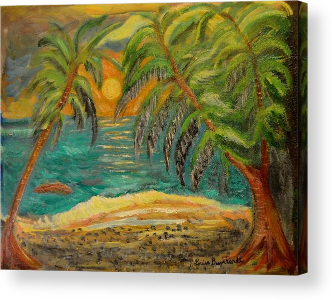 Tropical Acrylic Print featuring the painting Deserted Tropical Sunset by Louise Burkhardt
