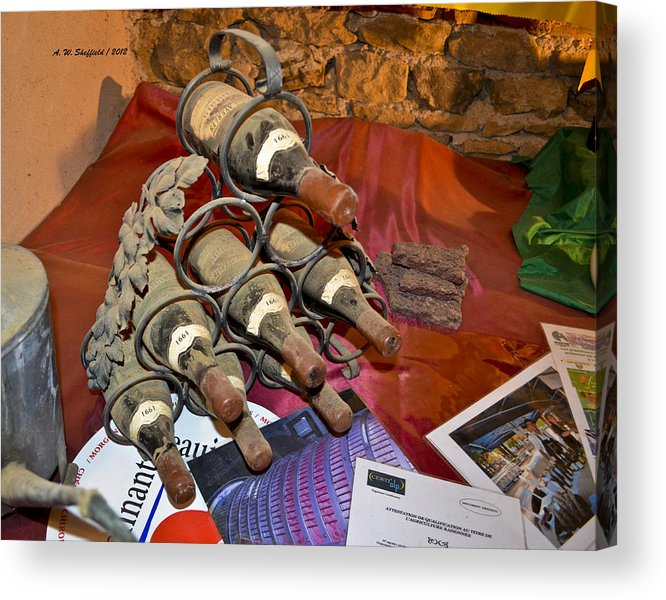 Wine Acrylic Print featuring the photograph Dust Covered Wine Bottles by Allen Sheffield