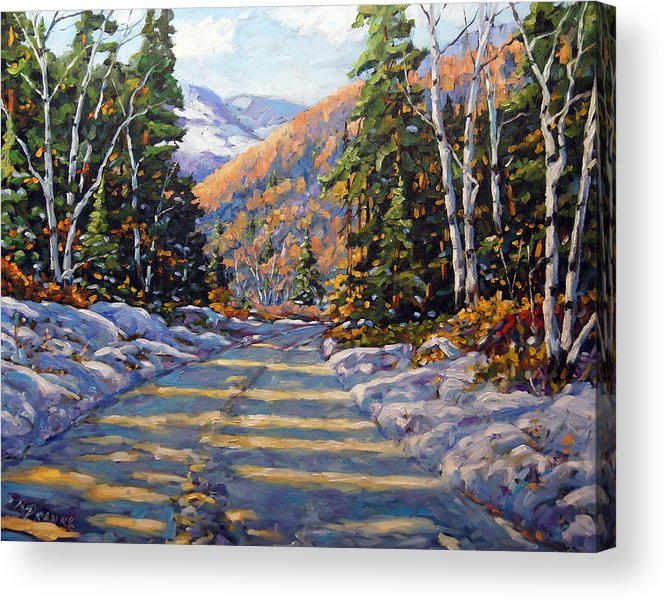 Quebec Acrylic Print featuring the painting First Snow By Prankearts by Richard T Pranke