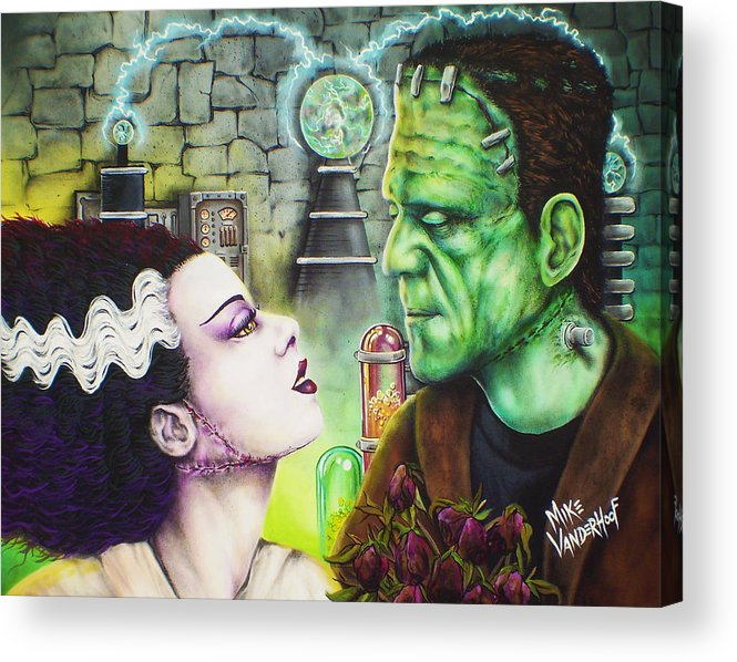 Frankenstein Acrylic Print featuring the painting Frankenstein And The Bride by Mike Vanderhoof