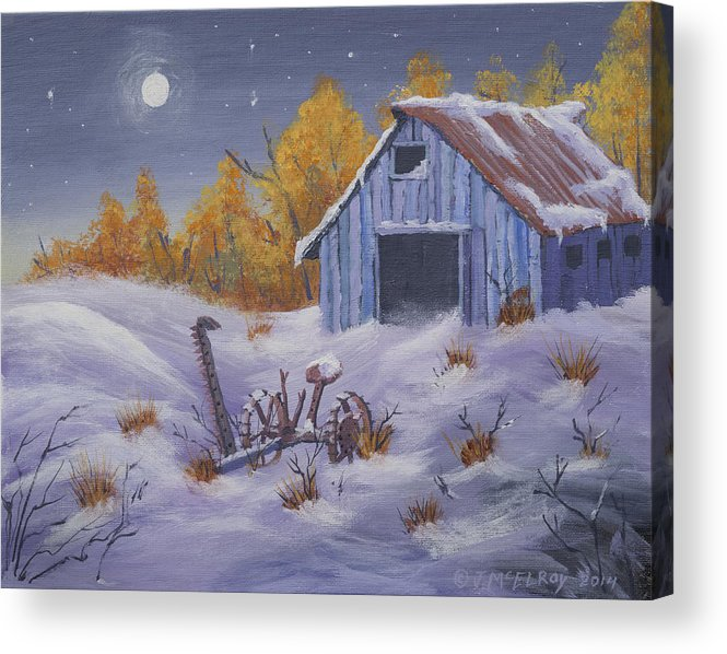Barn Acrylic Print featuring the painting Frozen In Time by Jerry McElroy