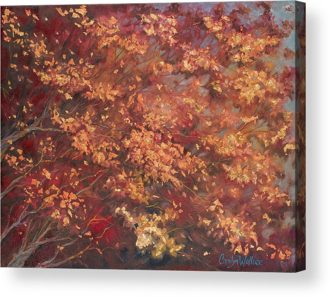 Oil Painting Acrylic Print featuring the painting Gold Leaf 1 by Carolyn Coffey Wallace