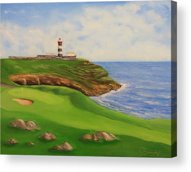 Golf Painting Acrylic Print featuring the painting Golf Old Head Of Kinsale by Jacob Browning