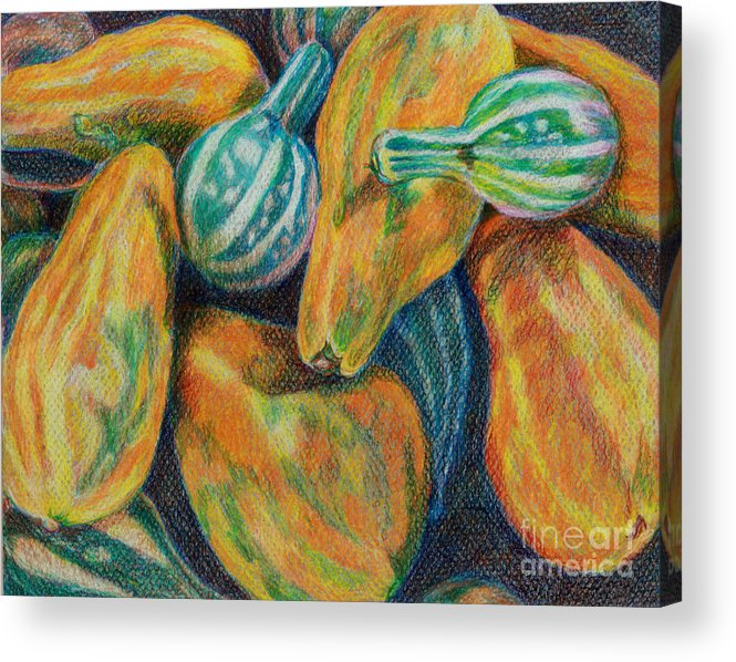 Gourd Acrylic Print featuring the painting Gourds For Sale by Janet Felts