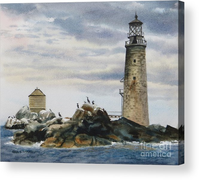 Clouds Acrylic Print featuring the painting Graves Light House by Karol Wyckoff