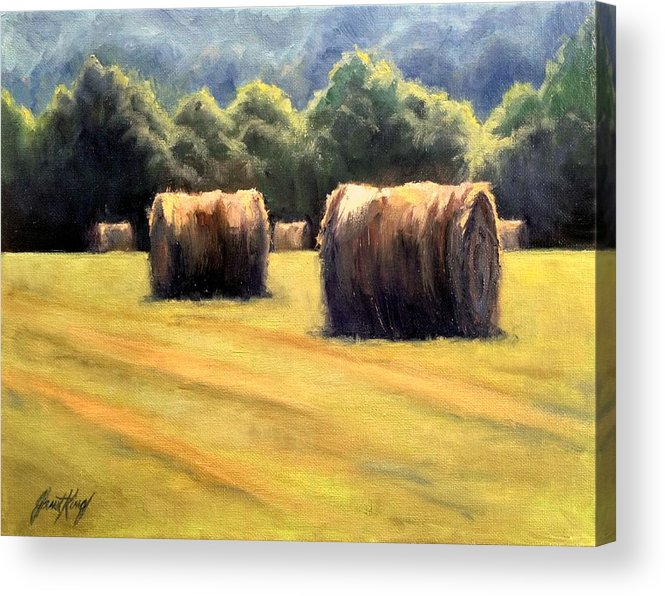 Hay Bales Acrylic Print featuring the painting Hay Bales by Janet King