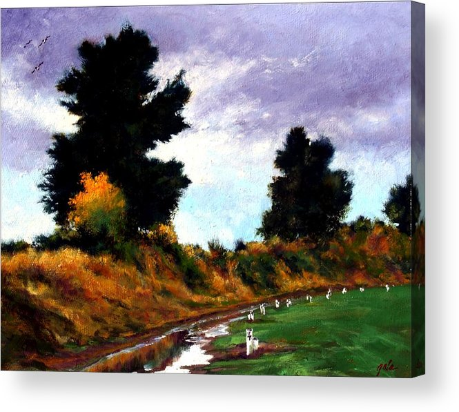 Landscape Acrylic Print featuring the painting Inside The Dike by Jim Gola