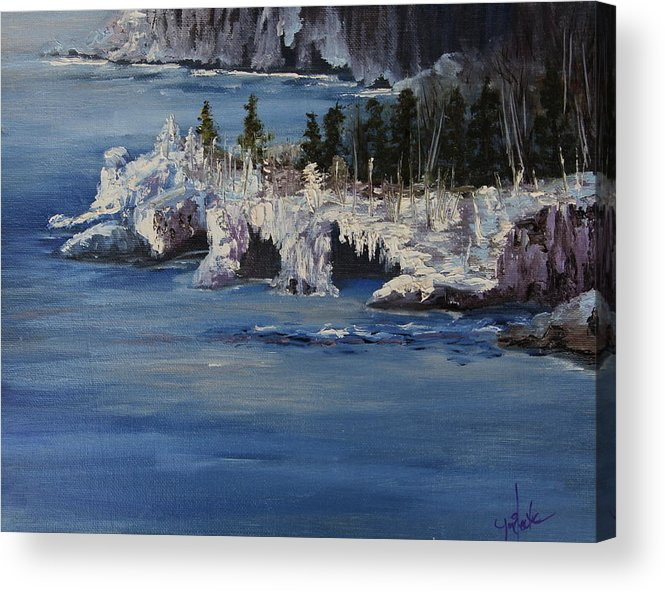 Landscape Acrylic Print featuring the painting Lake Superior Ice Storm by Joi Electa
