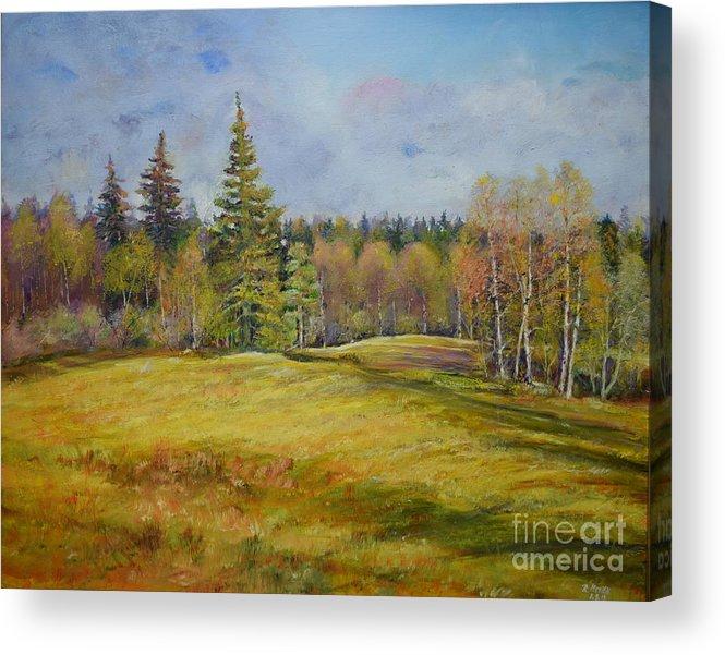 Raija Merila Acrylic Print featuring the painting Landscape From Pyhajarvi by Raija Merila