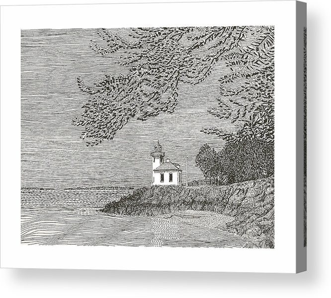 San Juan Islands Lime Point Lighthouse Acrylic Print featuring the drawing Light House On San Juan Island Lime Point Lighthouse by Jack Pumphrey