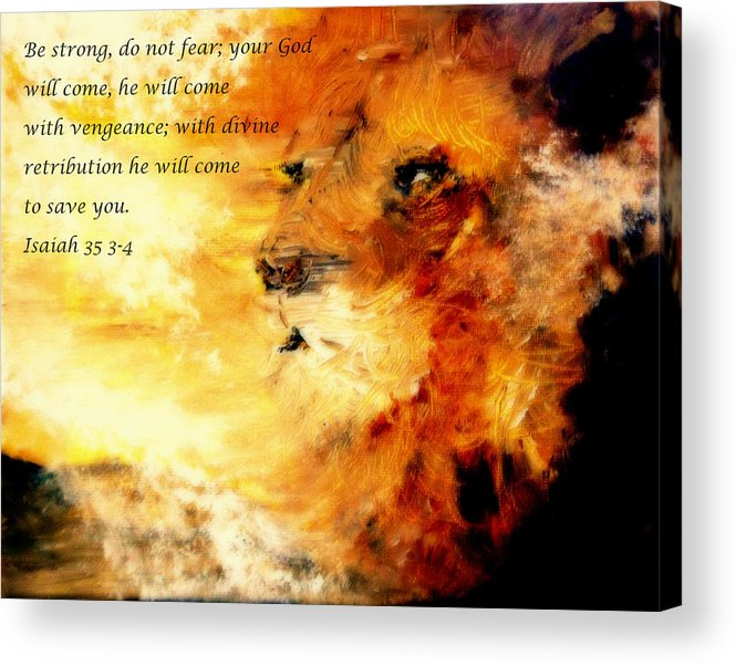 Lion Of Judah Acrylic Print featuring the painting Lion Of Judah Courage by Amanda Dinan