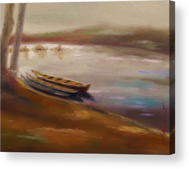 Longboats At The Crossings Acrylic Print featuring the painting Long Boats At The Crossing by John Williams