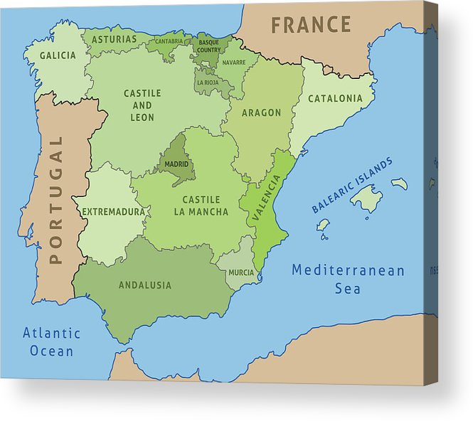 Map Of Spain For Printing.Map Of Spain Acrylic Print