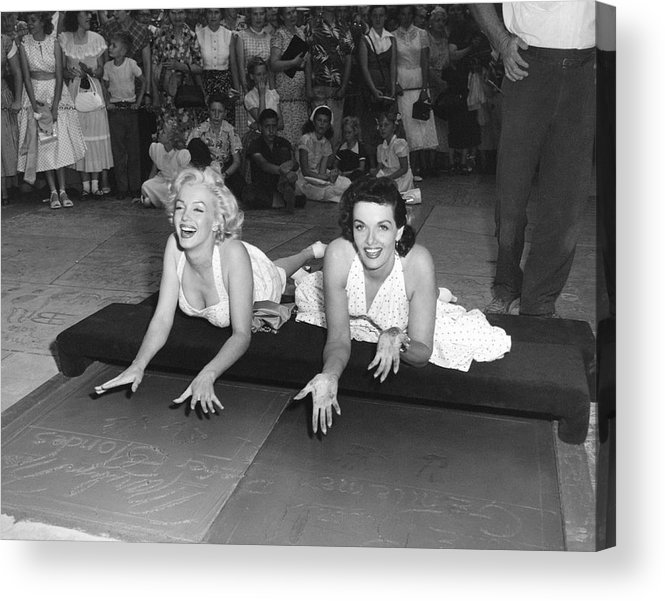 1950's Acrylic Print featuring the photograph Marilyn Monroe And Jane Russell by Underwood Archives