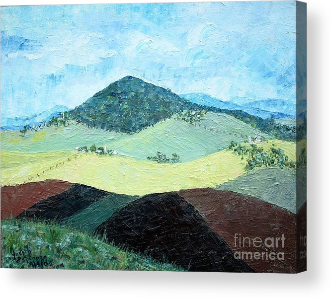 Centered Mole Hill With Dark Foreground; Plowed Fields Acrylic Print featuring the painting Mole Hill - Sold by Judith Espinoza
