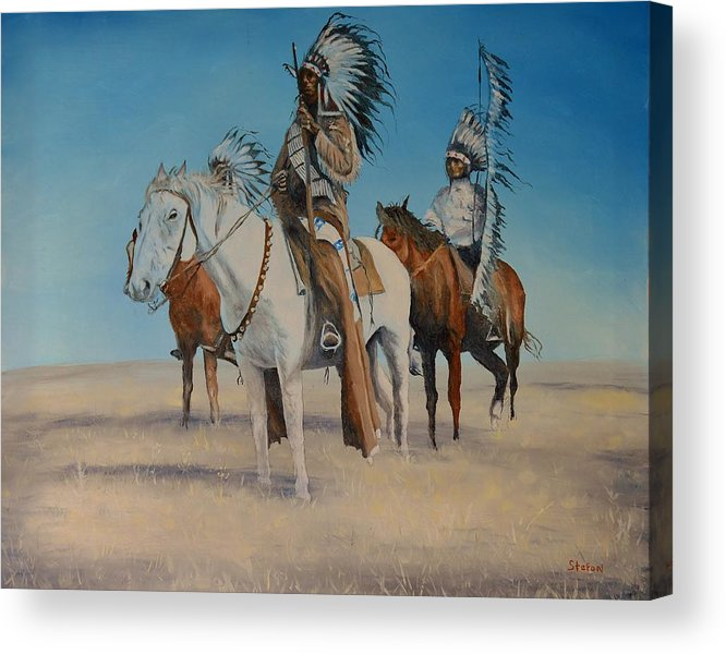 Indians Acrylic Print featuring the painting Native Americans On Horseback by Stefon Marc Brown