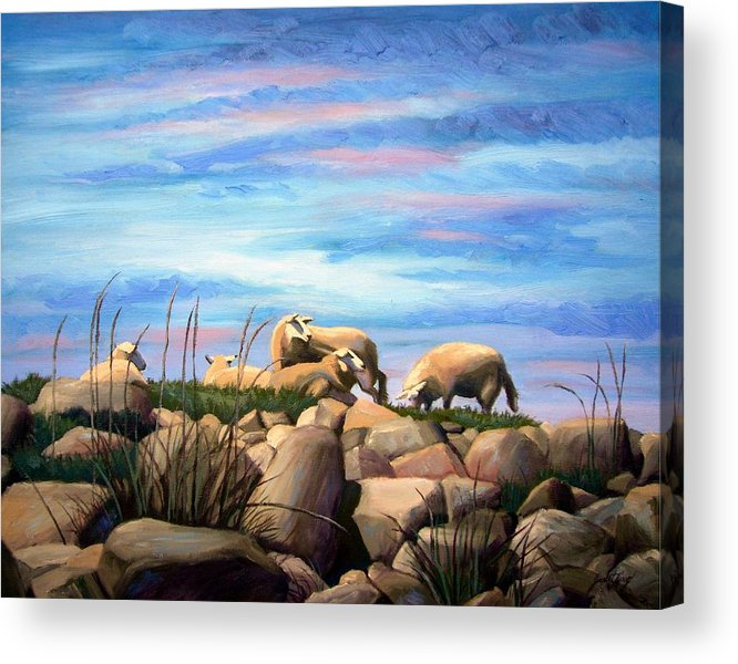 Sheep Acrylic Print featuring the painting Norwegian Sheep by Janet King