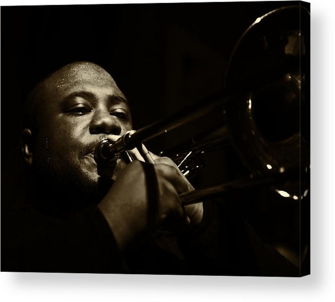 Trombone Acrylic Print featuring the photograph On Horn by Jim Lynch
