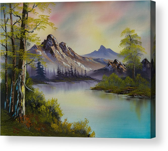 Landscape Acrylic Print featuring the painting Pastel Skies by C Steele