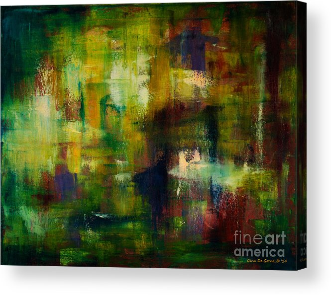 Abstract Acrylic Print featuring the painting Pond by Gina De Gorna