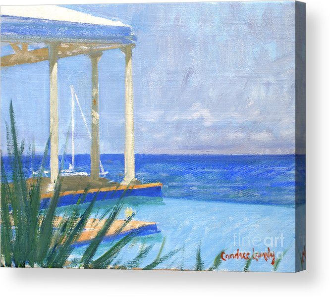 Infinity Pool Acrylic Print featuring the painting Pool Cabana Morning by Candace Lovely