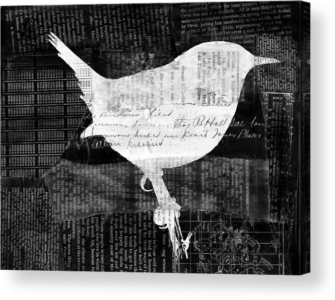 Silhouette Acrylic Print featuring the digital art Reader Bird by Georgia Fowler