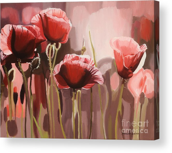 Flower Acrylic Print featuring the painting Red Poppies by Annette Cohen
