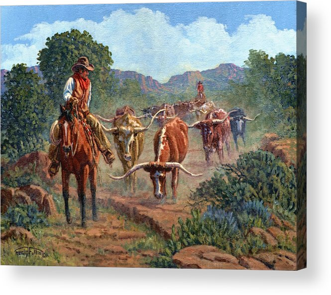 Cowboy Acrylic Print featuring the painting Riding Point by Randy Follis