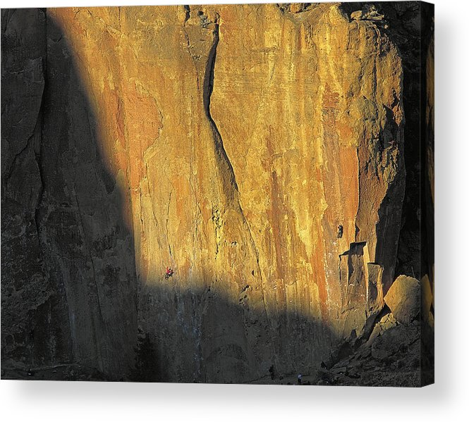 Rock Acrylic Print featuring the photograph Rock Climbers On The Big Wall by Buddy Mays