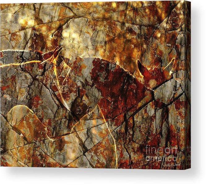 Horses Acrylic Print featuring the digital art Rockface by Judy Wood