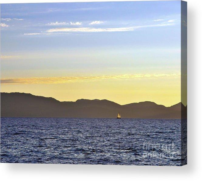 Sail Acrylic Print featuring the photograph Sailing At Sunset - Lake Tahoe by John Waclo