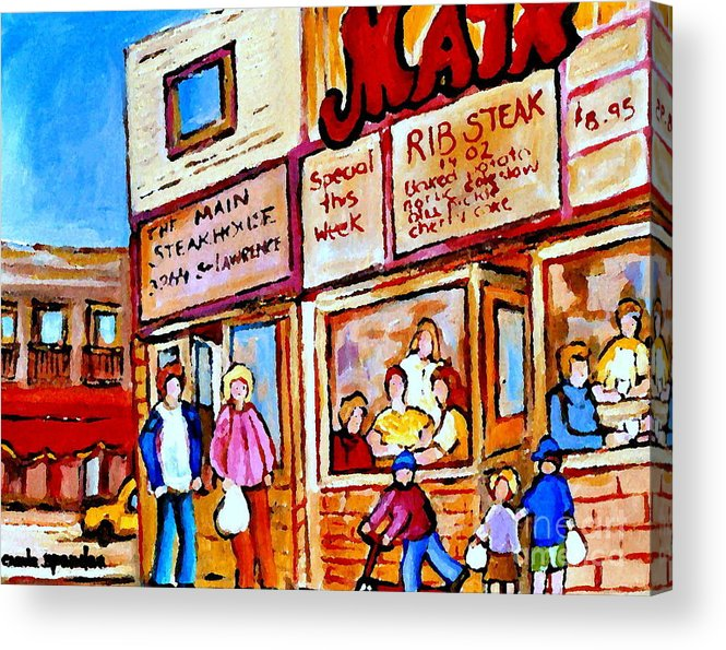 The Main Steakhouse Acrylic Print featuring the painting Scooting By The Main Steakhouse Authentic Montreal Paintings Prints Originals Commissions C Spandau by Carole Spandau