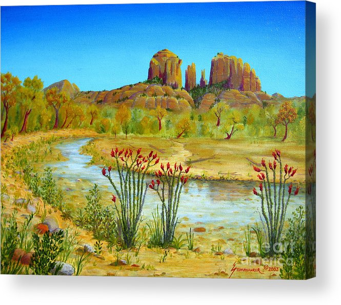 Sedona Acrylic Print featuring the painting Sedona Arizona by Jerome Stumphauzer