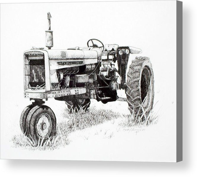 Tractor Acrylic Print featuring the drawing Seen Better Days by Scott Alcorn
