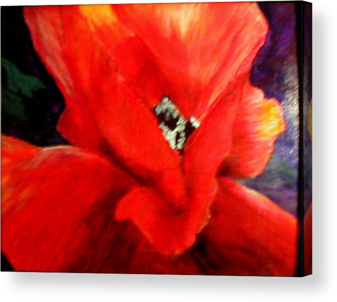 Floral Acrylic Print featuring the painting She Wore Red Ruffles by Gail Kirtz