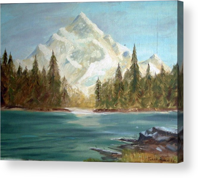 Mountain Acrylic Print featuring the painting Snow Covered Mountain by Judi Pence