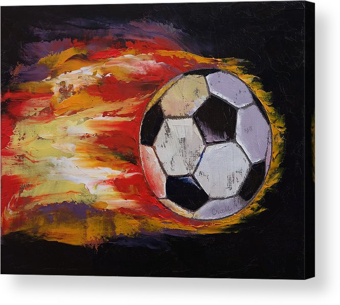 Art Acrylic Print featuring the painting Soccer by Michael Creese
