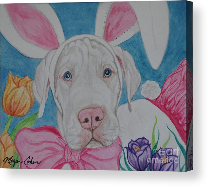 Dog Acrylic Print featuring the painting Some Bunny Says Spring Has Sprung by Megan Cohen
