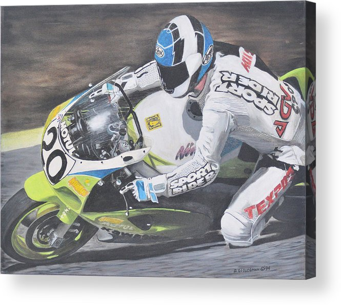 Motorcycle Acrylic Print featuring the painting Sport Rider by Denis Gloudeman