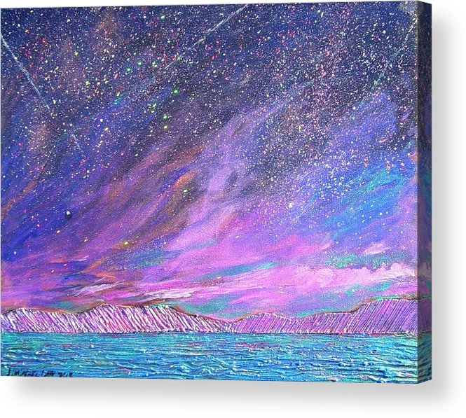 Sky Acrylic Print featuring the painting Starry.....starry Night by J Michael Orr