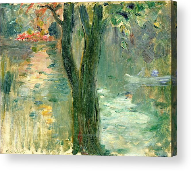 Setting Sun; Impressionist; Reflection Acrylic Print featuring the painting Sunset Over The Lake Bois De Boulogne by Berthe Morisot