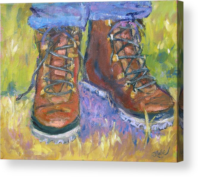 Hiking Acrylic Print featuring the painting Take A Hike by Jude Lobe