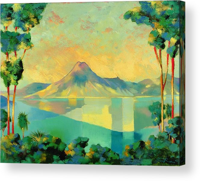 Lake Atitlan Acrylic Print featuring the painting The Art Of Long Distance Breathing by Andrew Hewkin