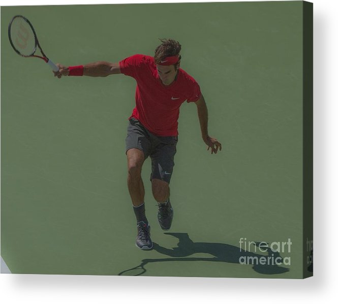 Roger Federer Acrylic Print featuring the photograph The King Of Tennis by Terry Cosgrave