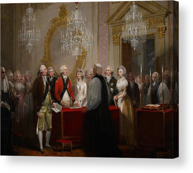 Chandelier Acrylic Print featuring the painting The Marriage Of The Duke And Duchess Of York by Henry Singleton